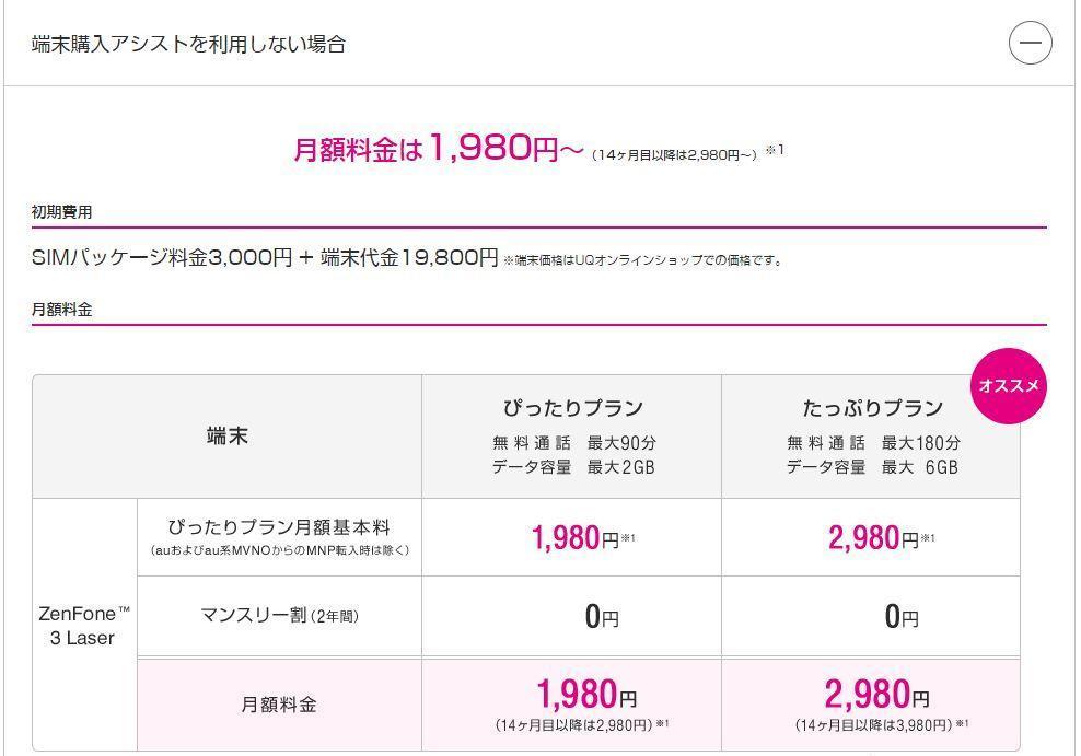 UQモバイル ZenFone3 Laser 一括払い